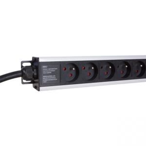 "Vertical Rack 19"" power strip equipped with a IEC60309-type plug and 16 E-type slots"