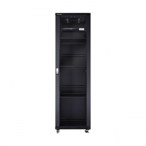 The picture shows NCB22-66-BAA-C-NA cabinet with optional accessories installed (shelves, fan tray and PDU - not included in NA set).
