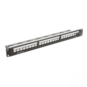 Empty 19-inch patch panel with 24 ports